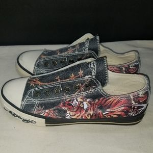 Ed Hardy Leather Laceless Women's Sneakers Tiger 7